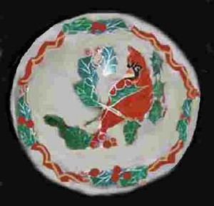 Hand painted Red Bird Christmas Plate