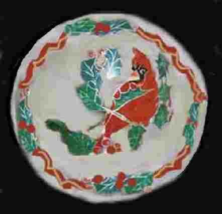 Hand painted Christmas Plates In Red Bird Design