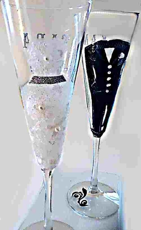 Hand painted bride and groom wedding champagne glasses