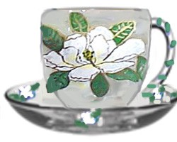Magnolia Design Hand painted Cups and Saucers | Clearly Susan
