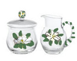 Sweet Magnolia's hand painted creamer and sugar bowl