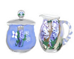 Hand painted Sugar Bowl And Creamer In Purple Wisteria