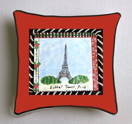 Red French Pillow Eiffel Tower