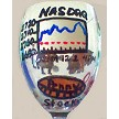 Hand painted Stockbroker Wine Glass With Nasdaq Symbol Design