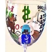 Hand painted Stockbroker Wine Glass With Stock Market Symbols