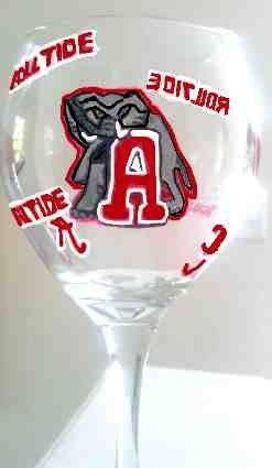 University of Alabama Wine Glass