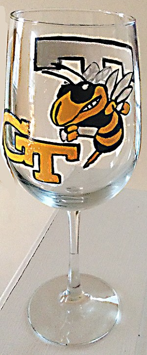 Sports Glasses Hand painted Of Georgia Tech Football Glasses