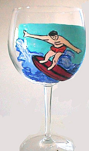 Surfer Wine Glasses Sports Glasses