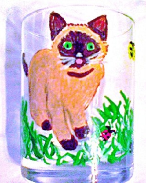 Hand painted Siamese Cat Glasses
