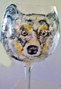 English Setter Dog Painted Wine Glasses