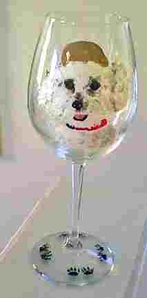 Bichon Hand painted Wine Glasses