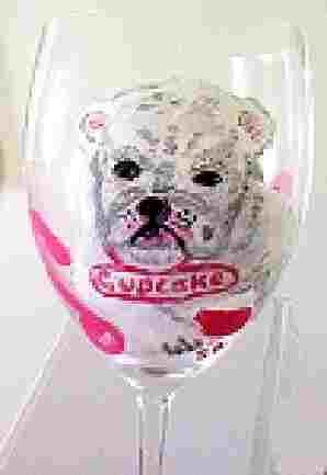 Hand painted Wine Glasses of Bulldog