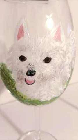 Westie Hand painted Wine Glass