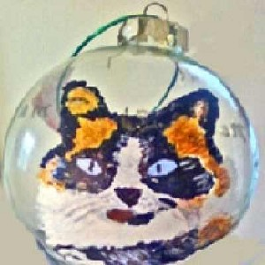 Hand painted Calico Christmas Ornament