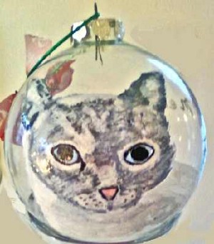 Hand painted Grey Christmas Cat Ornament
