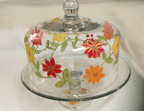 Spring Flower Cake Plate With Cover