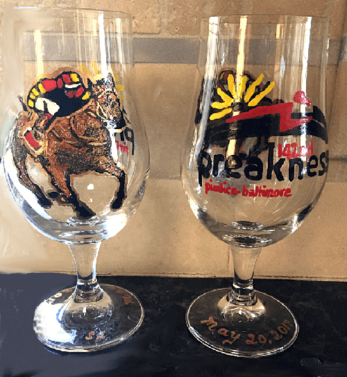 2017 Preakness Horses Glass