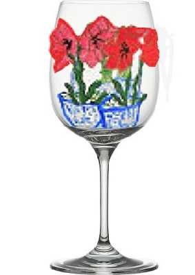 Custom Wine Glasses In Rich Red Amaryllis