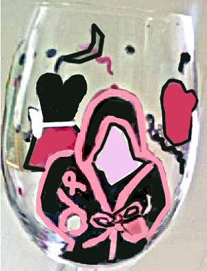 """Fight Like A Girl"" Breast Cancer Awareness wine glasses"