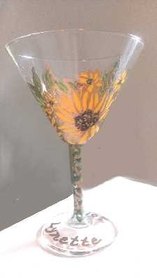 Hand painted Sunflower Wine Glasses Kissed By The Sun