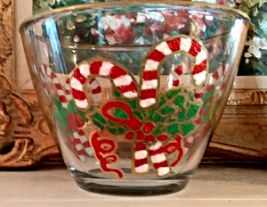 Hand painted Candy Cane Medium Bowls
