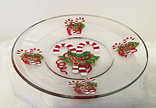 Hand painted Candy Cane Dinner Plate