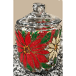 Glass Cookie jars Poinsettia