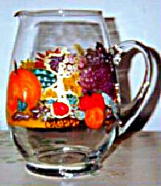 Thanksgiving Glass Pitcher with glasses to match