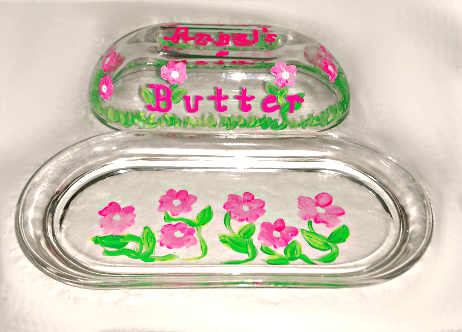Painted Pink Flowers Butter Dish
