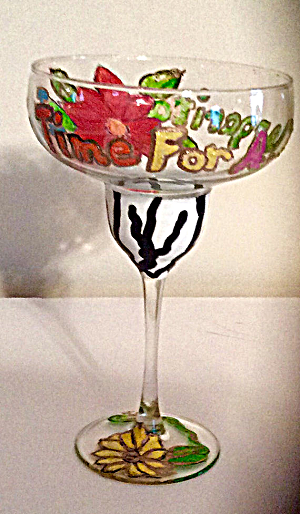 Margarita Glasses Hand painted In Fun, Whimsical Designs