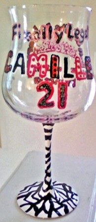 # 1...Hand painted Birthday Wine Glass