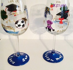 Hand painted Graduation Wine Glasses  | Graduation Gifts