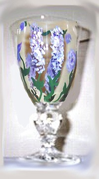 Purple Wisteria Hand painted Ice Water Tea Glass
