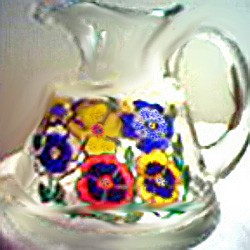 Water Pitcher Pouring Colorful Pansies