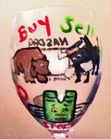 Hand painted Stockbroker Wine Glass With Bulls and Bears Design