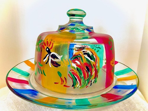 Hand painted Rooster Design Cheese Dome