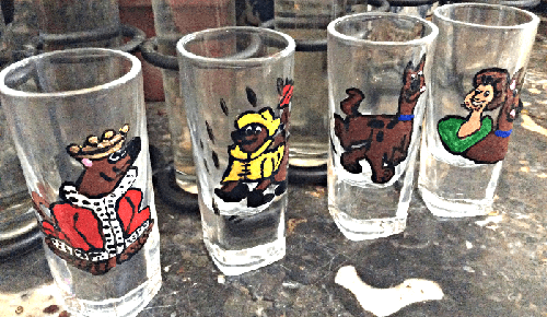 Four Scooby Doo Shot Glasses