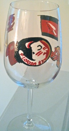 Florida State Indian Mascot Hand painted on Wine Glass