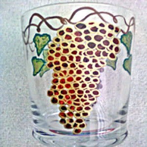 Hand painted Burgundy Grape Crystal Wine Coolers